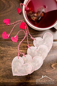 Make your own heart shaped tea bags for Valentine's Day! Perfect handmade valentines idea, and so easy to make!
