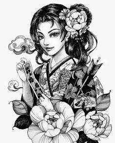 Tatoo Geisha, Japanese Geisha Tattoo, Geisha Tattoo Design, Geisha Art, Japanese Tattoo Designs, Japanese Art, Baby Tattoos, Dream Tattoos, Body Art Tattoos