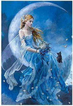 Blue moon fairy with black cat. Fantasy World, Fantasy Art, Fantasy Fairies, Real Fairies, Fantasy Images, Elfen Fantasy, Moon Fairy, Fairy Pictures, Pictures Images