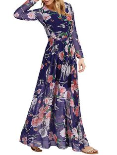 Plus Size Chiffon Floral Print Long Sleeve Maxi Dress
