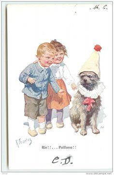 N°1002 - Karl Feiertag -  Rie!!...Paillasse - Enfants Et Chien Déguisé