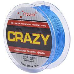 Fiblink 4 Strand Braid Braided Fishing Line Blue 300 yards 500yards 10lb-80 lb Test PE Fish Line
