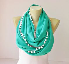 Extra long  infinity scarf with pompom trim  circle by SenasShop @ Etsy ~ $19.90