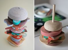 such a clever idea! Make all the pieces of a sandwich/burger to stack up! This one's made with wood but I wonder if I could use fabric!