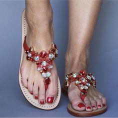 Red Sandals, Leather Sandals, Mystique Sandals, Types Of Women, Miller Sandal, Tory Burch, Flip Flops, Footwear, Wedges