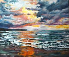 Buy Irish sunset, Oil painting by Hanna Kaciniel on Artfinder. Painting Of Girl, Oil Painting On Canvas, Painting & Drawing, Beautiful Paintings, Irish, Original Art, Full Frontal, Sky, Landscape