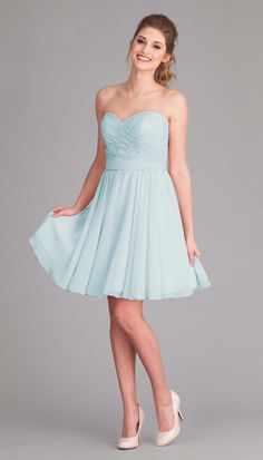 An affordable, strapless lace and chiffon bridesmaid dress.