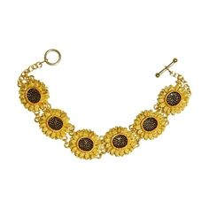 Sunflowers Bracelet after Van Gogh, museum jewelry, Vincent Van Gogh... ($95) ❤ liked on Polyvore featuring jewelry, bracelets, flower jewellery, flower bangle, blossom jewelry, sunflower jewelry and flower jewelry