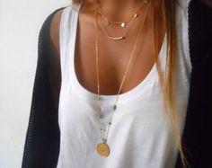 Zarte Satz von 4 goldene Halsketten Mehrschichtige von annikabella