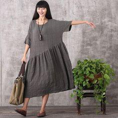 Dress - Women Retro Style Loose Pullover Cotton Linen Dress