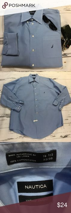 Nautica blue oxford 16 1/2 32/33. Great condition Nautica's 'vintage oxford'   Light blue. 16 1/2  32/33.  Great used condition. Front pocket.            (432) Nautica Shirts Dress Shirts