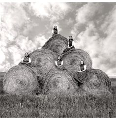 Hutterite girls during haymaking season Surprise Creek Colony, Stanford, Montana, August 22, 1991. By Laura Wilson.