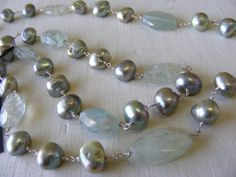 Aquamarine and fresh water pearl #necklace #beads