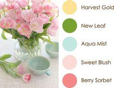 April Color Play: Harvest Gold, New Leaf, Aqua Mist, Sweet Blush, Berry Sorbet
