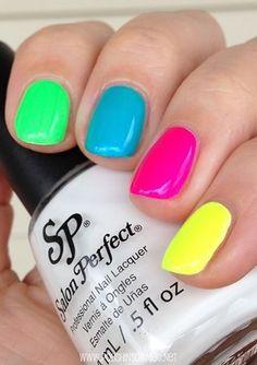 Salon Perfect Loopy Lime, Bermuda Baby, Fired Up Fuchsia, Yowza Yellow over Sugar Cube