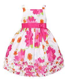 Look at this #zulilyfind! White & Fuchsia Floral Ruffle Dress - Toddler & Girls #zulilyfinds