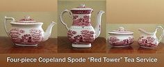 Vintage 4-Piece Copeland Spode Red Tower Tea Service in Pottery & Glass, Pottery & China, China & Dinnerware, Spode, Porcelain | eBay