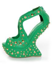 Privileged Karvis Green Studded Heelless Platforms