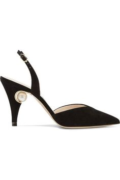 Heel measures approximately 85mm/ 3.5 inches Black suede Buckle-fastening slingback strap Made in Italy