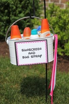 Backyard Graduation Party Ideas: sunscreen and bug spray basket