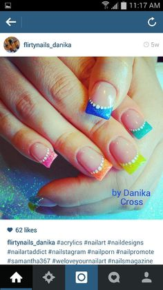 Colorful french tipped acrylics