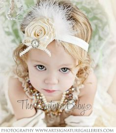 Ivory Bliss Headband from The Couture Baby bow, headbands with feathers