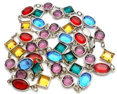 """Austrian Crystal Necklace Multi Color Channel Set 30"""" Red Blue Yellow Purple 
