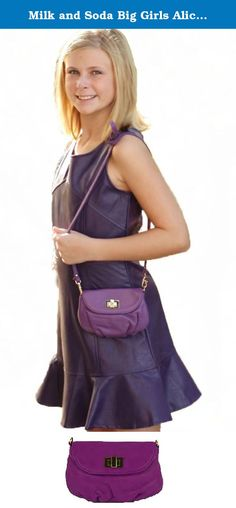 """Milk and Soda Big Girls Alice Mini Bag, Purple. A lovely clutch for that special little girl in your life. Made of soft, textured leather with a toggle closure, this purse can be used without the removable strap. The strap is long enough to be worn cross-body. It's so cute the adults will want to borrow it! On the inside is written, """"Wherever you go I will go with you."""" This bag is in purple and goes great with her purple outfits and can also be a colorful accent for her other outfits…"""