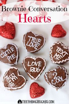 Brownie Conversation Hearts are the perfect sweet ending on Valentine's Day. This easy dessert will definitely win the hearts of your family and friends.