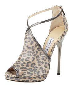 Fey Peep-Toe Leopard-Print Sandal, Anthracite by Jimmy Choo at Bergdorf Goodman.