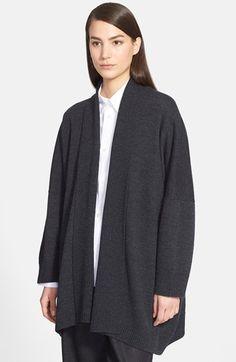 Women's eskandar Oversize Shawl Collar Merino Wool Cardigan - Grey