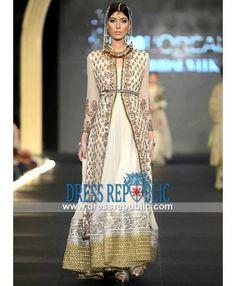 Off-white Crinkle Chiffon Fahad Hussayn Occasion wear 2014 PFDC Bridal
