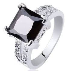 Classic Design Women Jewelry Mystic Black Onyx Gems White Gold Plated Rings