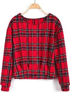 Red Long Sleeve Plaid Crop Blouse - Sheinside.com