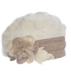 5e2401a888c Z amp s Retro Women Floral Trimmed Wool Blend Cloche Winter Hat  (Angola-Ivory