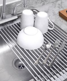 Loving this Over-the-Sink Roll-Up Dish Drying Rack on #zulily! #zulilyfinds