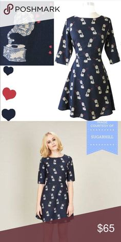 """Modcloth dress Beautiful Modcloth dress by Sugarhill Boutique. New. Navy soft silky fabric, lined, back metal zipper. Full length: 39"""" Dresses"""