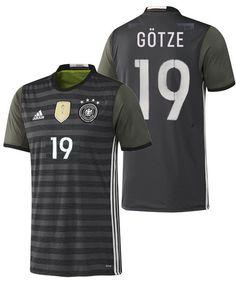 ADIDAS EURO 2016 GERMANY MARIO GOTZE AWAY JERSEY Dark Grey Heather /