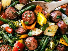 Roasted veggies with sausage and herbs all made and cooked on one pan. 10 minute… Roasted veggies with sausage and herbs all made and cooked on one pan. 10 minutes prep, easy clean-up! via chelseasmessyapro… Paleo Recipes, Dinner Recipes, Cooking Recipes, Dinner Ideas, Healthy Sausage Recipes, Sausage Meals, Cooking Pork, Roasted Vegetables, Veggies