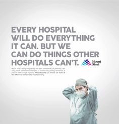 Print advertisement created by Devito/Verdi, United States for Mount Sinai, within the category: Health. Mount Sinai, Multiple Myeloma, Print Ads, Novels, Therapy, Advertising, Marketing, Health, United States