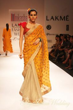 Nikasha Tawadey designer saree - want to own this one. So my style - beige, yellow, red and fav. own kurtas in individual prints Indian Fashion Trends, Asian Fashion, Ethnic Trends, Indian Look, Indian Ethnic Wear, Traditional Fashion, Traditional Outfits, Indian Dresses, Indian Outfits