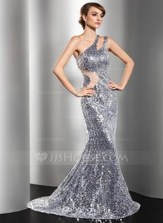 Evening Dresses - $159.79 - Mermaid One-Shoulder Sweep Train Tulle Sequined Evening Dress (017014549) http://jjshouse.com/Mermaid-One-Shoulder-Sweep-Train-Tulle-Sequined-Evening-Dress-017014549-g14549