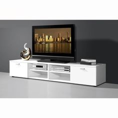 Modern low plasma TV stand in white with 2 high gloss doors - 10732 buy budget TV stands,budget TV and audio stands,budget TV stands sale,budget lcd TV stand. 55 Inch Tv Stand, Low Tv Stand, Flat Screen Tv Stand, Mobiles, Tv Stand On Wheels, Tv Stand For Sale, Tv Stand Furniture, Furniture Ideas, Furniture Design