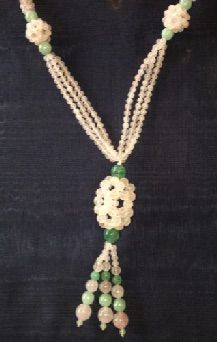 "Jade and rose quartz bead lavaliere. Pale pink and complimentary shades of green. 18"" necklace with 4"" drop"