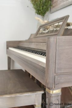 If painting your old piano isn't for you, here's how to strip it down and add your own flare, such as this amazing Weatherwood Stain finish.