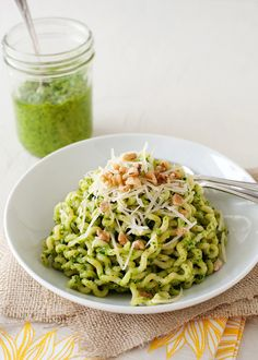 {Arugula and Walnut Pesto Pasta} Would your little one eat something like this if you used the crazy curly noodles? ;-)