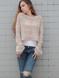 Tejida a mano lana mujer suéter recortada suéter de por MaxMelody