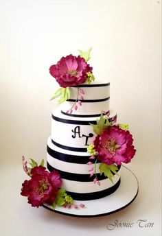 Fuschia themed Wedding Cake with Peonies sugarflower Joonie Tan