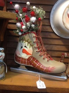 Ice skate painted by Sharren