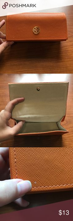 Tory Burch Sunglasses Case Hardly used Tory Burch Sunglasses case. In great condition. Has slight blemish on the front, as pictured, and the back is caved in from having been in storage, also pictured. But with glasses inside, the back should pop right back in place. No tears or stains on the inside. Tory Burch Accessories Sunglasses